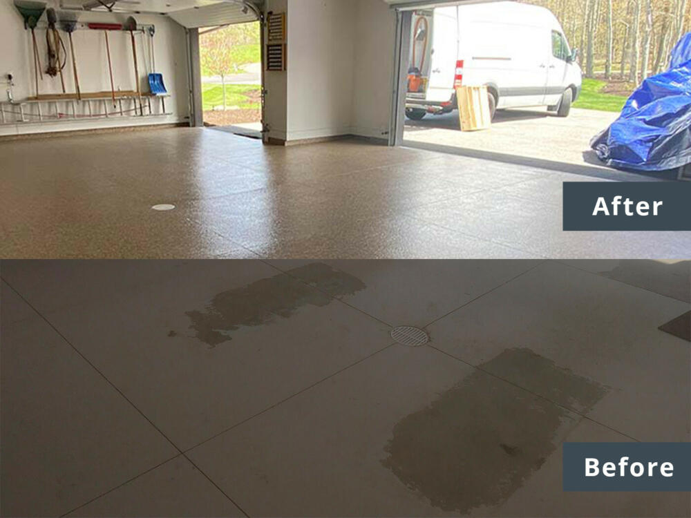 before and after epoxy flooring ohio garage interiors