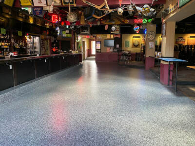 Epoxy flooring installation at bar and grill | Epoxy floor cost