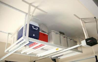 overhead bike storage | Ceiling Mounted Overhead Storage Rack