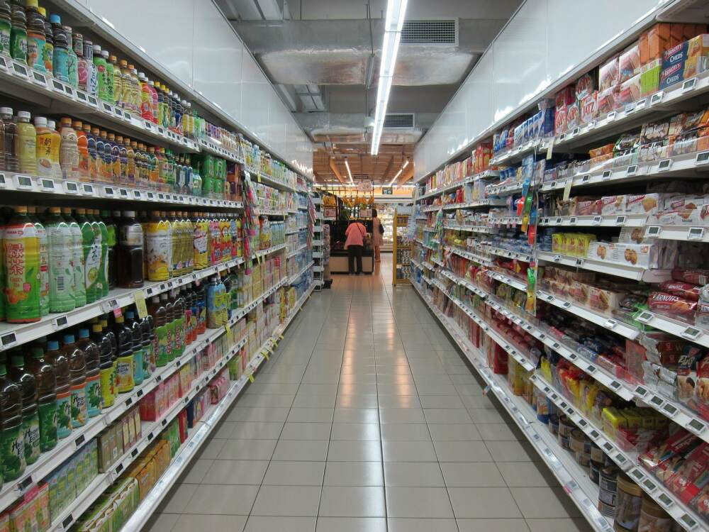 Retail Store Aisle with Stocked Shelves