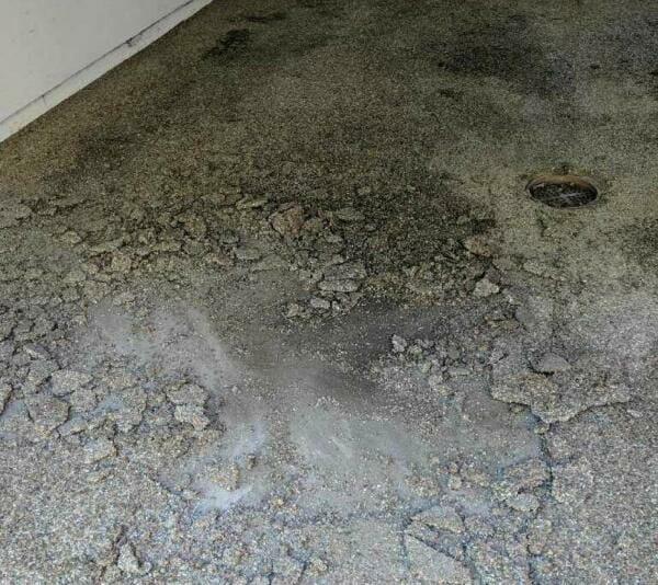 Damaged concrete flooring   OGI concrete restoration services