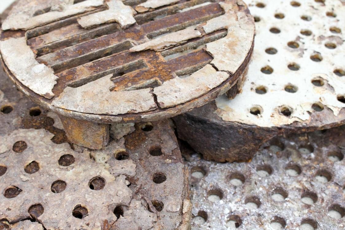 Rusting garage floor drain covers
