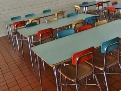 Empty cafeteria tables and chairs | Epoxy flooring for cafeterias