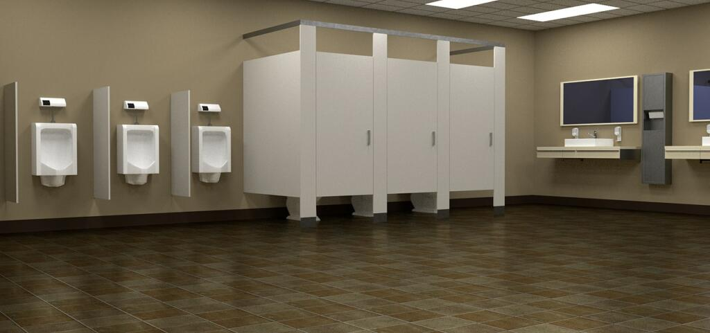 A bathroom with 3 urinals, 3 stalls, and a few sinks | Epoxy flooring restrooms