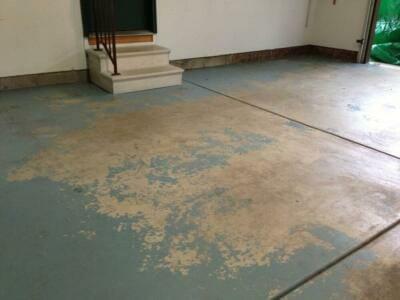 A peeled, cracked garage floor   Garage floor repair
