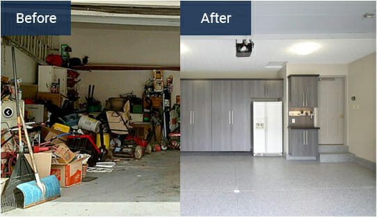 Before and after installing epoxy garage flooring