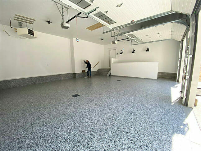 Epoxy flooring installed by Ohio Garage Interiors
